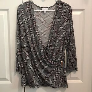 Charter Club Wrap Houndstooth Plaid Top XL